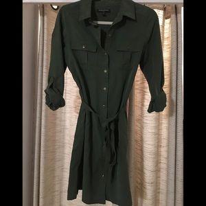 Olive shirt-dress